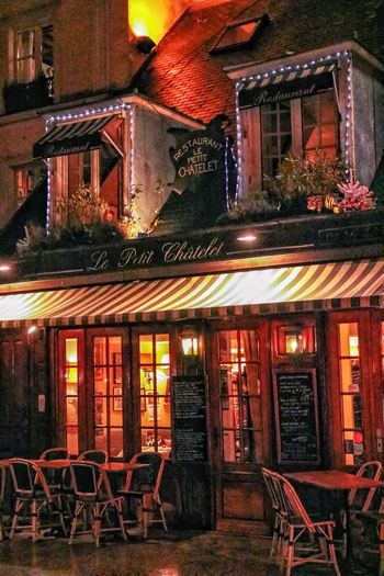 Paris By Night Paris Chair Architecture Built Structure Table Building Exterior Restaurant Illuminated Night Cafe No People Outdoors City