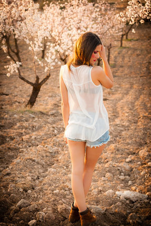 Lola in the almond field Adult Beautiful People Beauty Beauty In Nature Day Fashion Full Length Girls Happiness Human Body Part Nature One Person Outdoors People Portrait Spring Sunlight Young Adult
