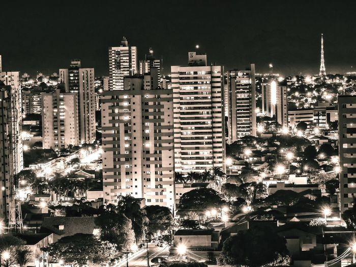 Campo Grande MS Brasil City Cityscape Skyscraper Urban Skyline Black Background Illuminated Modern Tree Sky Architecture Settlement Crowded Urban Scene TOWNSCAPE Human Settlement Residential Structure High Street Tall Downtown Rooftop Residential  Housing Settlement Ghetto Tourist Attraction  Financial District  Office Building Tower Residential District Tall - High Downtown District