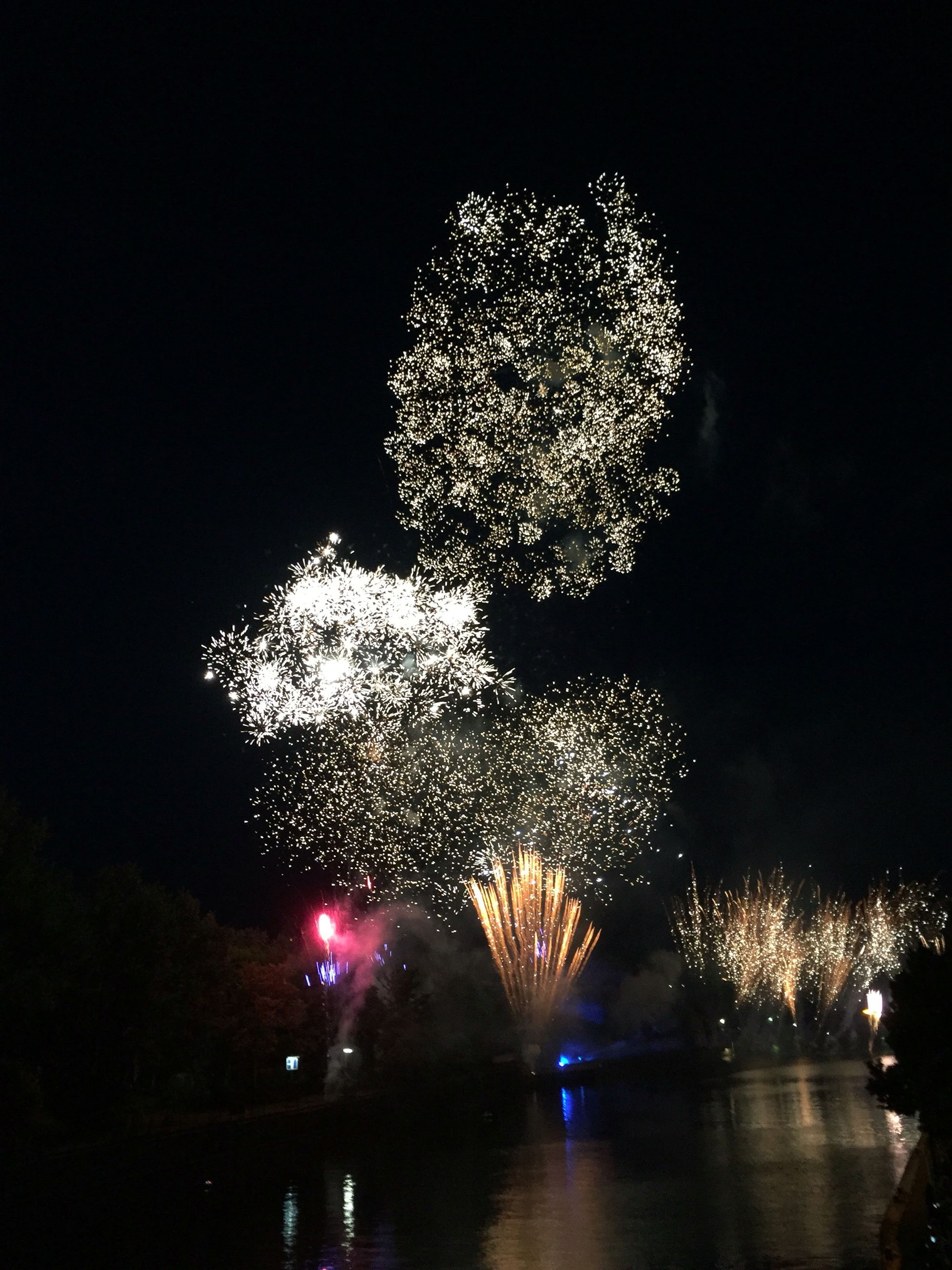 illuminated, night, firework display, celebration, low angle view, long exposure, arts culture and entertainment, glowing, motion, sky, firework - man made object, reflection, exploding, water, firework, built structure, architecture, fountain, blurred motion, tree
