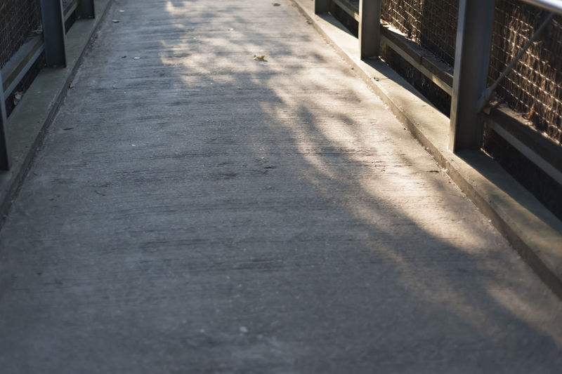 Close-up of shadow on road