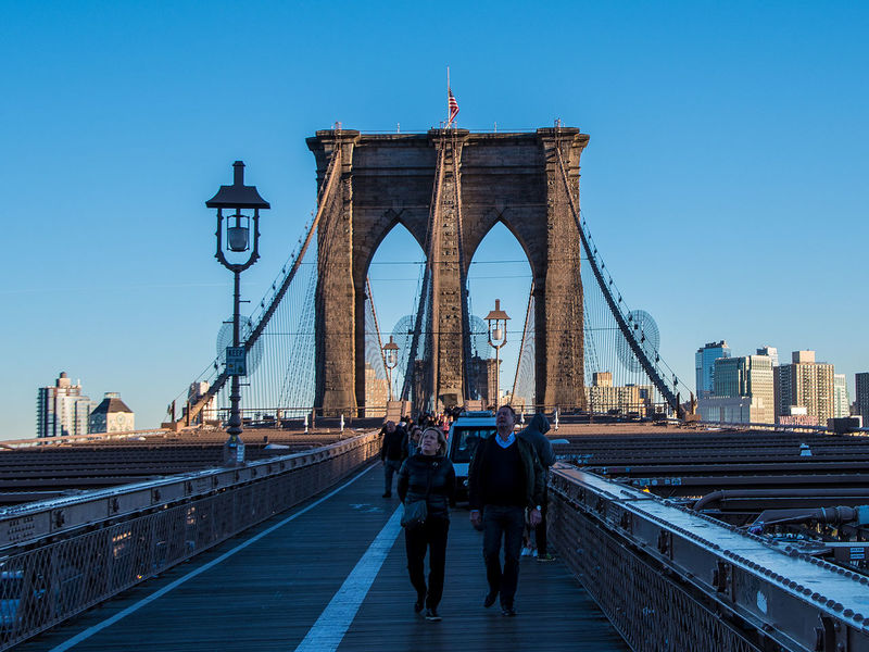 Architecture Bridge - Man Made Structure Brooklyn Bridge  Brooklynbridge Built Structure City Cityscape Clear Sky Manhattan New York People Suspension Bridge Travel Travel Destinations