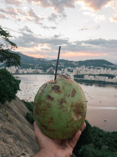 Cropped hand holding coconut against sky during sunset