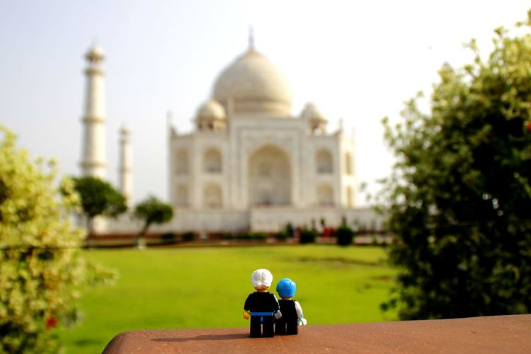 Taj Mahal India Tourist Attraction  LEGO Low Angle View City Tree Dome Rear View Architecture Building Exterior Sky Built Structure Historic History Place Of Worship Cathedral Temple Old Ruin Historic Building Visiting The Art Of Street Photography