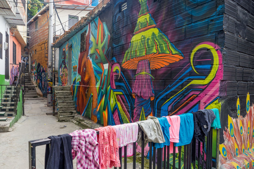 Architecture Building Exterior Built Structure City Colombia Colorful Comuna 13 Graffiti Graphity Medellín Multi Colored Variation