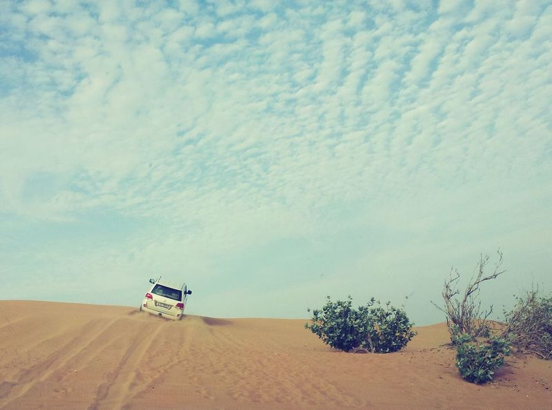 Jump to the sky. Desert Dubai Jump Jeep Safari Sky Velocity Driving View Adrenaline Fun