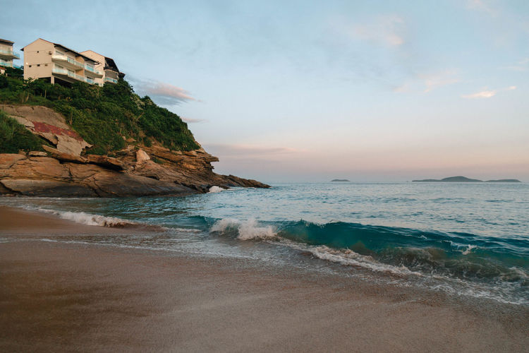 Praia das Caravelas Sea Water Beach Sky Land Beauty In Nature Horizon Scenics - Nature Horizon Over Water Motion Nature Rock Wave No People Aquatic Sport Rock - Object Tranquil Scene Tranquility Outdoors Stack Rock