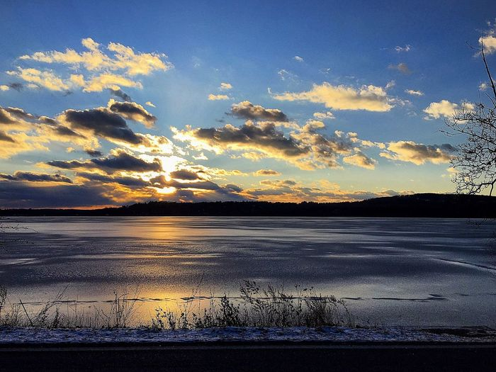"""Budd Lake, NJ"""" Sunset Beauty In Nature Nature Scenics Tranquility Tranquil Scene Sky Water Outdoors Idyllic No People Cold Temperature Landscape Snow Winter Day first eyeem photo"""