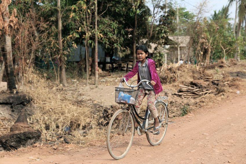 Cambodian Girl Bicycle Siem Reap Cambodia Cambodia Children