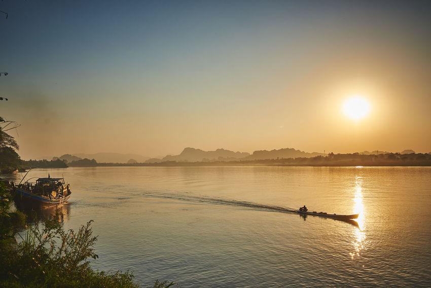 #asia #beach #beautiful #boat #Myanmar #sun #sunset #water
