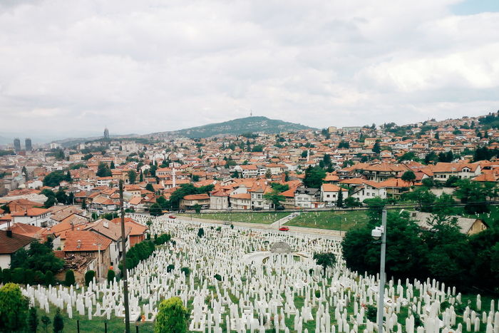 Sarajevo top roof Agriculture Day Cloud - Sky Landscape Outdoors Town No People Cityscape Building Exterior Rural Scene Community City Sky Multi Colored Architecture Tree Muslim Cemetary Cemetary
