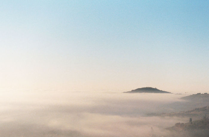 Aerial View Beauty In Nature Blue Clear Sky Distant Fog Foggy Horizon Horizon Over Water Idyllic Italy Majestic Mist Outdoors Overcast Perspective Physical Geography Scenics Sea Top Perspective Tranquil Scene Tranquility Traveling Valpolicella Weather