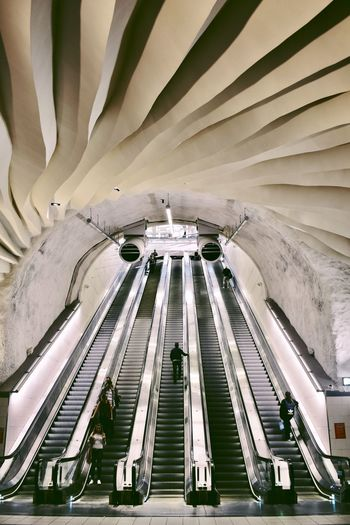 Train Tracks Subway Escalator Architecture Built Structure Travel Travel Destinations Tourism No People Building Exterior Ceiling Low Angle View Modern
