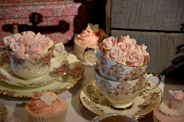 Tea Party Wedding Wedding Photography Wedding Cake Tea Cups Muffins Iceing Delicate Pride Dated Ornate Gold Detail Crocery Retro