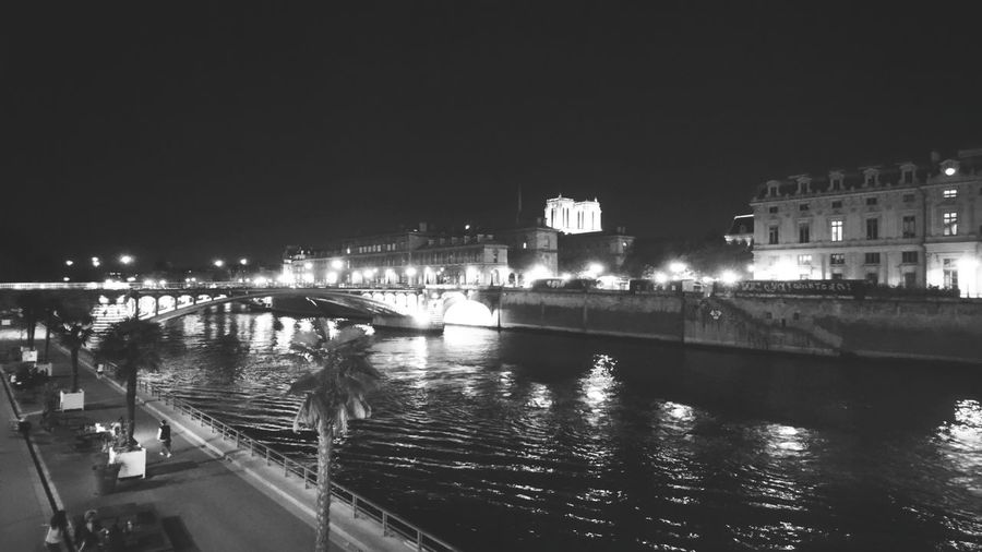 Look across the Seine. Paris France France 🇫🇷 Seine Seine River Seine River Banks Blackandwhite Black And White Night Night Photography Darkness Waterfront Across City Lights Night Lights Night Life Experimental Simple Mystery Urban Urban Nature City Cityscape Illuminated Water Urban Skyline Arts Culture And Entertainment Sky Architecture