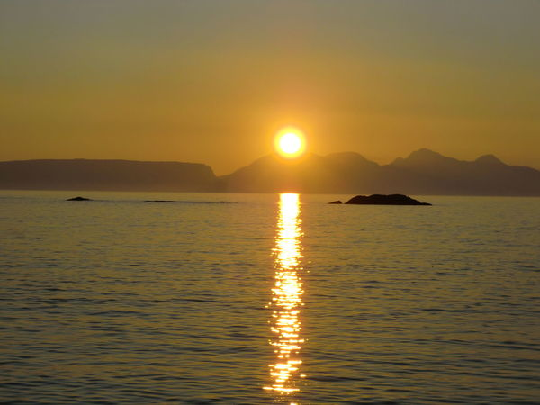 Sunset Isle Of Rhum Calm Sea Peaceful View Seascape Relaxing Islands