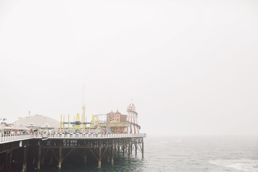 Architecture Beach Beauty In Nature Brighton Brighton Pier Built Structure Clear Sky Day Engineering Fog Foggy Horizon Over Water Nature No People Ocean Outdoors Scenics Sea Shore Sky Tourism Tranquil Scene Tranquility Travel Destinations Water
