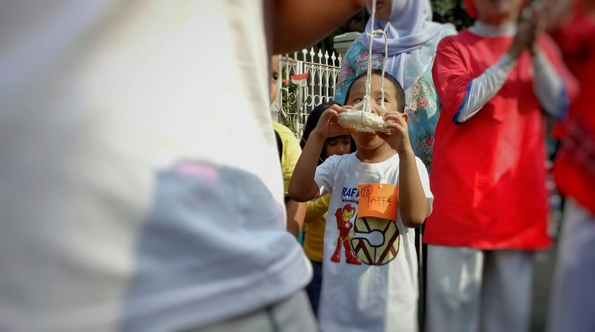 Independence day Indonesia Love Outdoors Midsection Child Togetherness