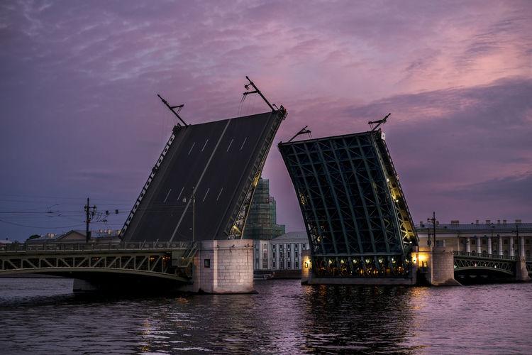 Bridge over river against sky at sunset