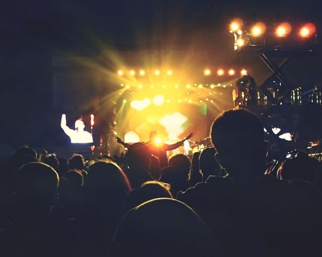 High angle view of people in concert