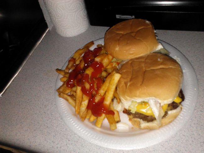 angus bacon cheese burger n fries i made