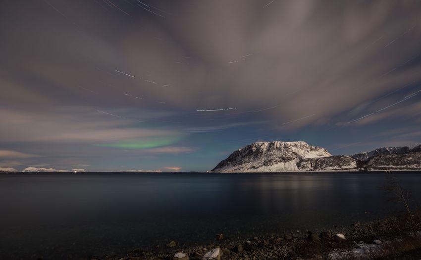 Nature Sky Beauty In Nature Scenics Sea Water Night Outdoors Mountain Scenery Star - Space Norway Lofoten Lofoten Islands Harstad Startrails Northern Lights Aurora Aurora Borealis Long Exposure