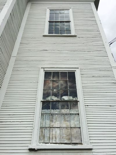 Window Architecture Building Exterior Built Structure Low Angle View Day No People Outdoors New England  Clapboard Curtain Reflection Broken Window White