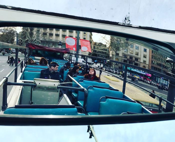 Mirror view Iphonephotography IPhoneography Travelphotography Travel Rearviewmirrorshot Rearviewmirror Rearview Busturistic Barcelona España CityTour Opentopbus Opentop Openair Travel Sightseeing Bustour Barcelona Built Structure Building Exterior Outdoors People