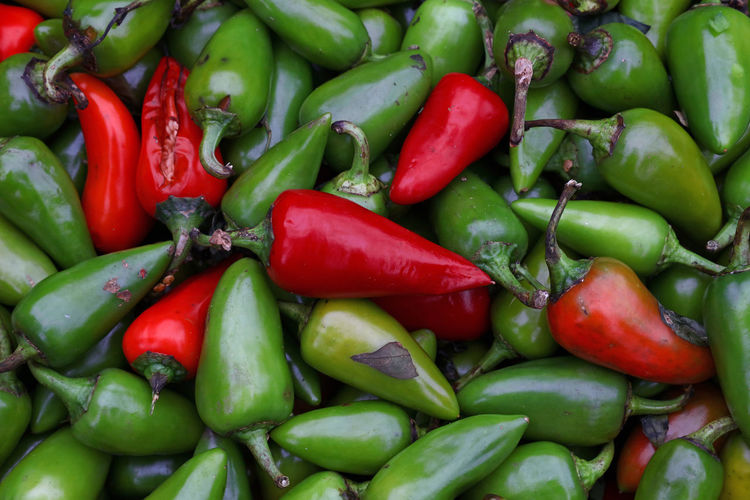 Full frame shot of jalapeno peppers for sale in market