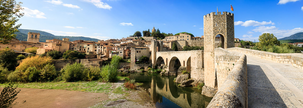 Ancient Architecture Bridge History Medieval Panoramic Perspective Place Of Worship