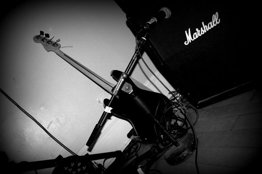 Amplifier Black And White Close-up Day Festival Season Guitar Illuminated Mic Stand No People Vignette Fresh On Eyeem