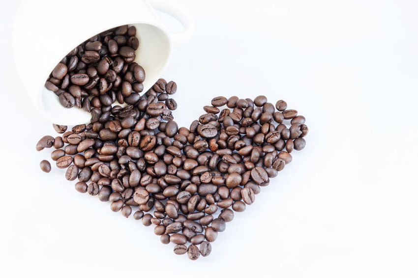 Abundance Brown Coffee Bean Food Food And Drink Freshness High Angle View Large Group Of Objects Raw Coffee Bean Studio Shot White Background
