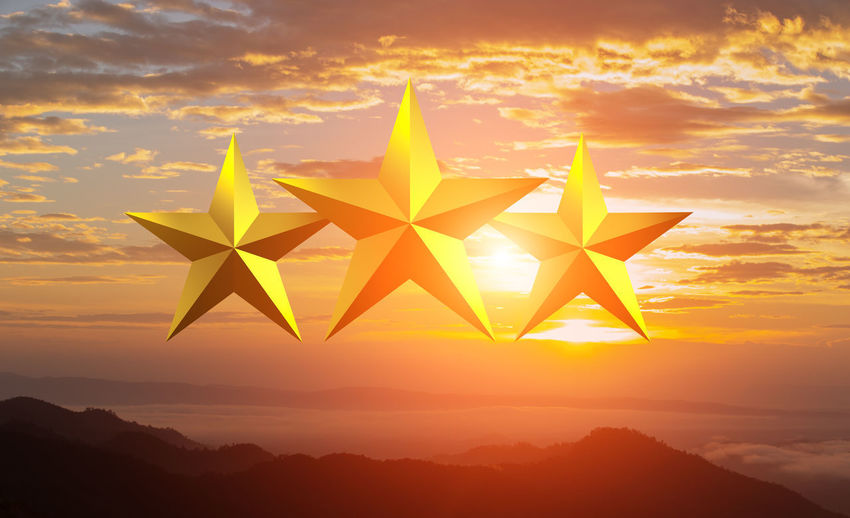 Three golden star with sunset time Sunset Orange Color Sky Beauty In Nature Scenics - Nature Cloud - Sky Nature Yellow No People Star Shape Shape Idyllic Outdoors Tranquility Silhouette Tranquil Scene Sun Mountain Sunlight Mountain Range Star Chanpion Gold Star