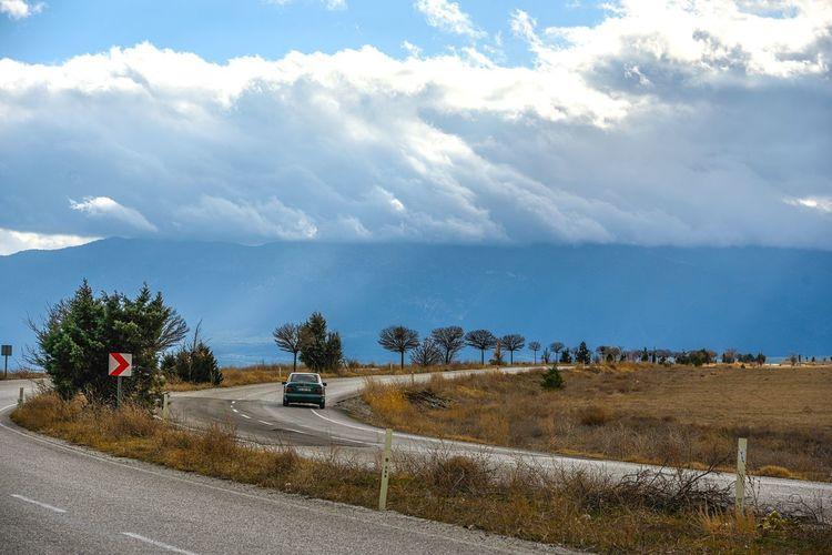Sky Cloud - Sky Road Car Day Transportation Tree Scenics Landscape Winding Road