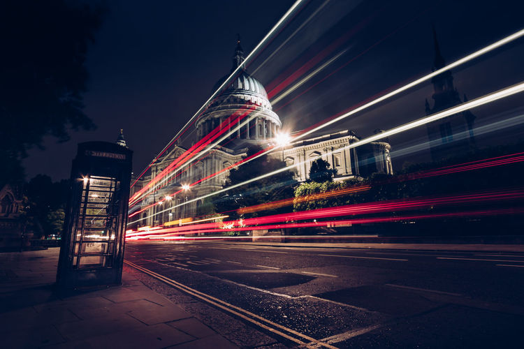 Light trails against st paul's cathedral at night
