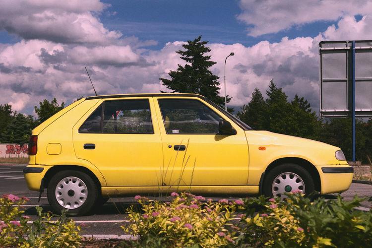 Cinematic Cloud - Sky Day Filmstyle Kačerov Land Vehicle Likeafilm No People Outdoors Sky Tree Yellow