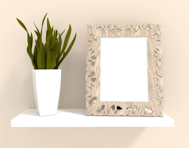 Decorated photo wood frame with plant on shelf for interior decoration Frame Wood Shelf Plant Photoframe Picture Frame Background Product Photography Blogphotography Empty Frame