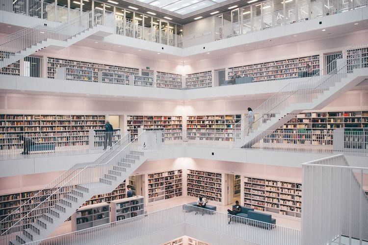 High angle view of books in library