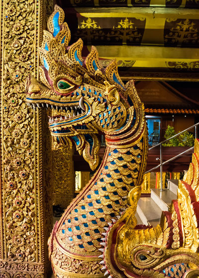 Place Of Worship No People Naga Multi Colored Gold Colored Dragon Serpent Head Temple Statue Sculpture Day Art And Craft Buddhist Built Structure Architecture Religion Railing Travel Gold