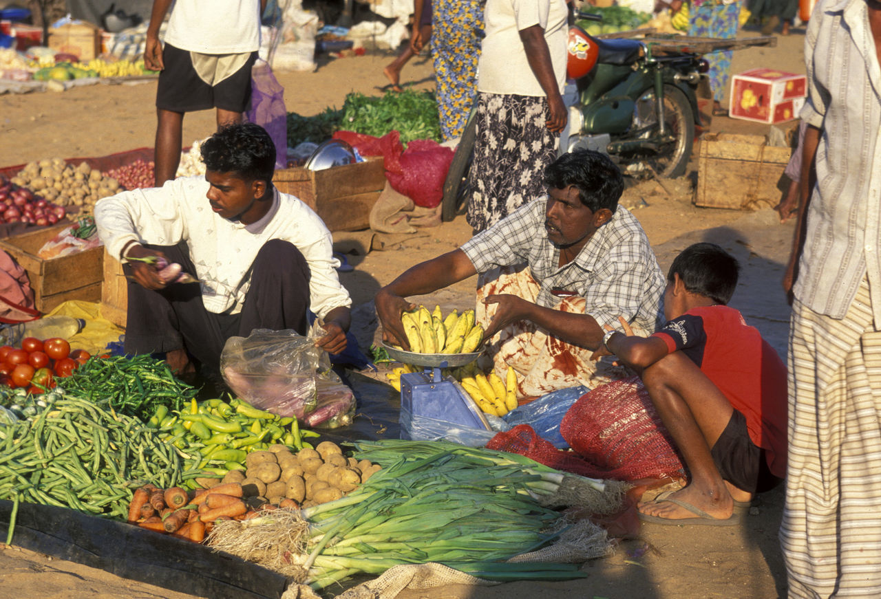 market, market stall, food and drink, retail, market vendor, small business, for sale, high angle view, real people, vegetable, food, sitting, men, day, healthy eating, freshness, customer, choice, outdoors, women, togetherness, adult, people
