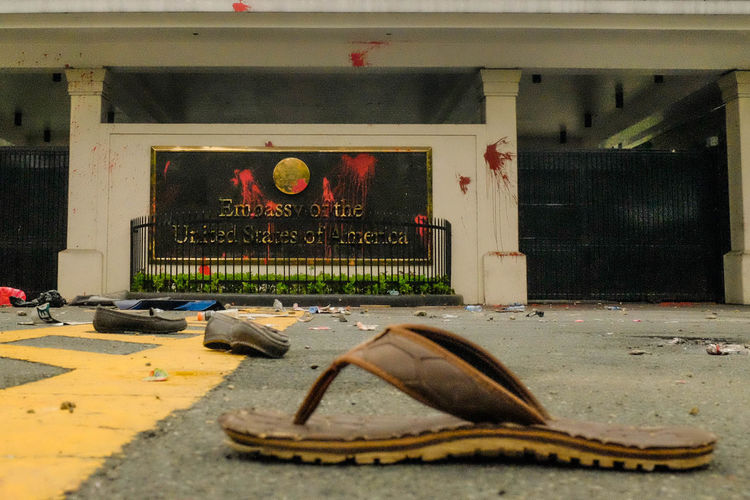 Day No People Paint Rally Slipper  Tainted Walls The Photojournalist - 2017 EyeEm Awards United States Embassy In The Philippines, Security, Immigration, Terror, American Dream, Travel Warning, Ban, Foreign Service, Outside, Gate,