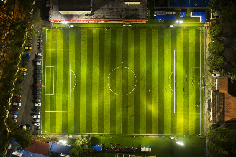 Directly above shot of illuminated soccer field