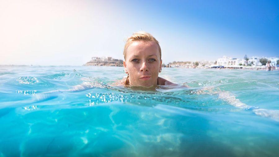 A girl swimming