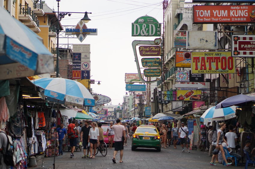 City Walking City Street Travel Destinations City Life Crowd Kaosarnroad Street Shopping Street Shot Street Photography Street Shop Bangkok Thailand Adapted To The City