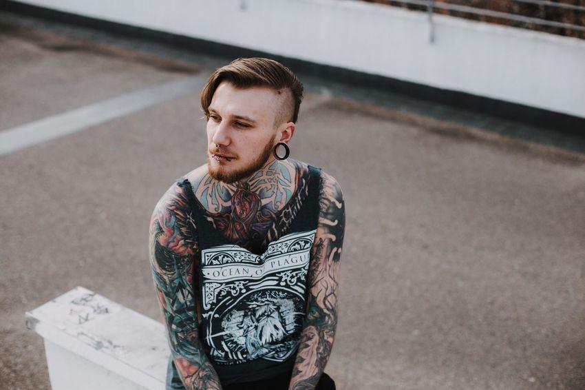 Valentin! Photoshoot Stuttgart Tattoo Tatooedboys One Person Beard Tunnels Outdoors EyeEmNewHere Welcome Weekly