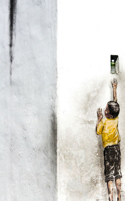 Balance Bottle Boy Canon350D Child Childhood Children Children Playing Climbing Facades Façade Full Length Giants Malaysia Painting Painting Art Painting Artwork Penang Penang Malaysia Streetart Thirst Thirsty  Traveling In Malaysia Traveling Malaysia Wall