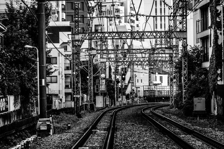 Japan Japan Lovers Japanese Culture Perspective Power Lines Tokyo Urban Exploration Abstract Architecture Black And White Building Building Exterior Built Structure City Complexity Contrast Day Direction Electricity  Fine Art Long Mode Of Transportation Monochrome Nature No People Outdoors Plant Power Line  Public Transportation Rail Transportation Railroad Track Railway Residential District The Way Forward Track Transportation Travel Destinations Tree