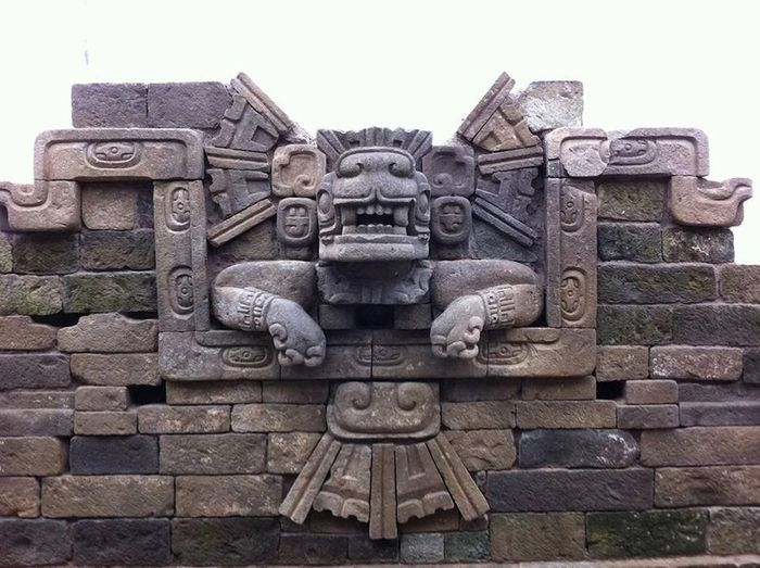 The Balam Sculpture from jaguar Temple at Rastrojon.Copan Ruinas, Honduras.