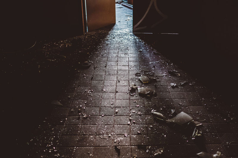 Alone Abondoned Abondoned Buildings Abondoned Places Day Destroyed Floor Glass Light And Shadow Lightrays Lighttrails Moody No People Open Door Outdoors Shattered Shattered Glass Tile Tiles