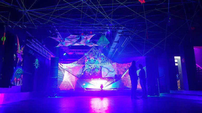 Fantasia 💚 Goa Party Psychedelictrance Psychedelicart Stringart Partydecorations Rave Black Cube Invasion Trippyart